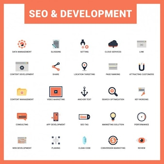 Seo and Development Flat Icon Set