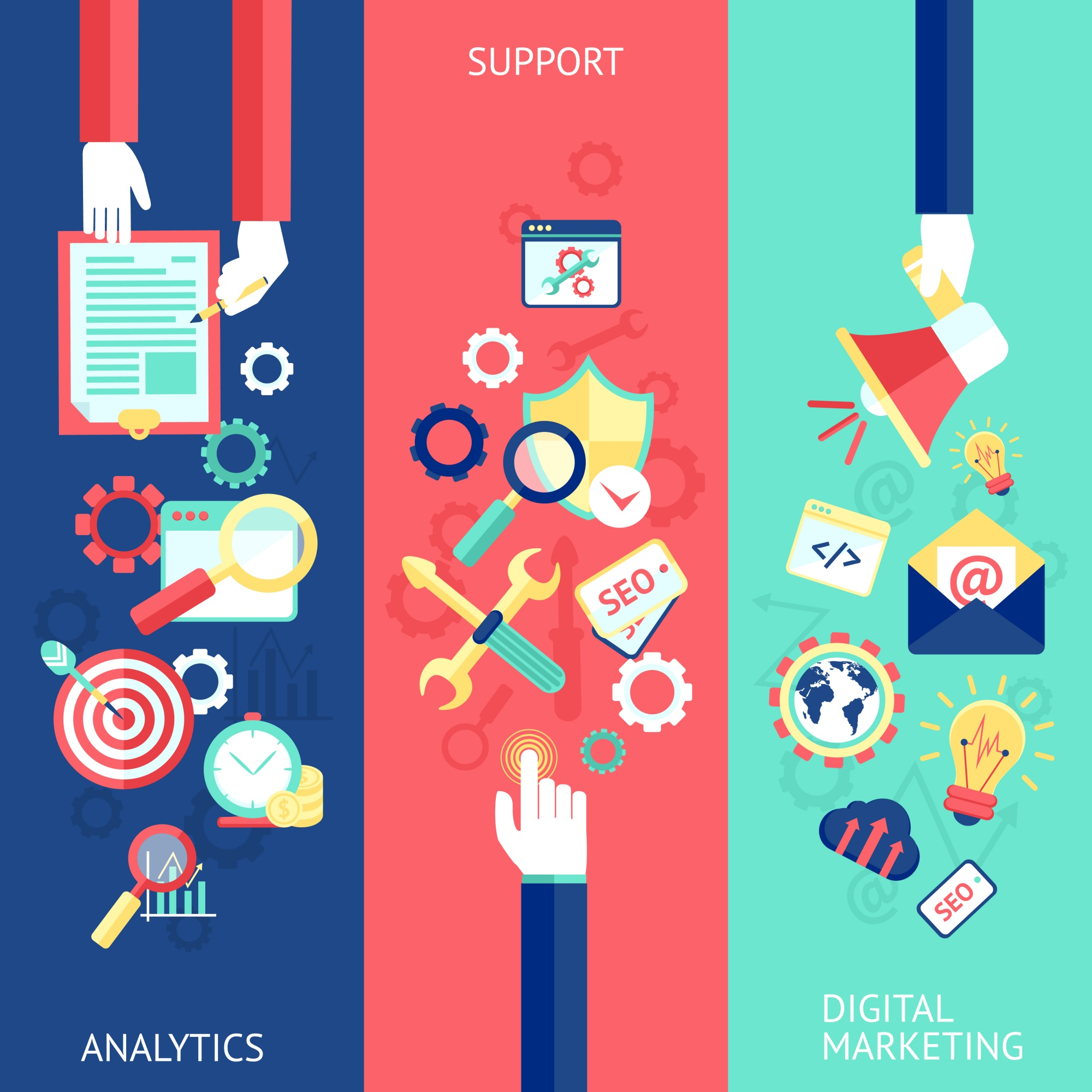 SEO flat banner set with analytics support digital marketing isolated vector illustration