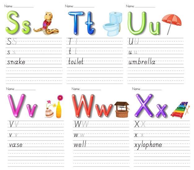 Set of alphabet worksheet on white paper