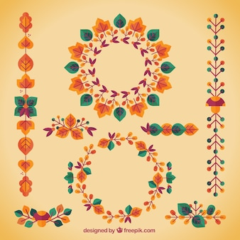 Set autumn decorative elements in retro style