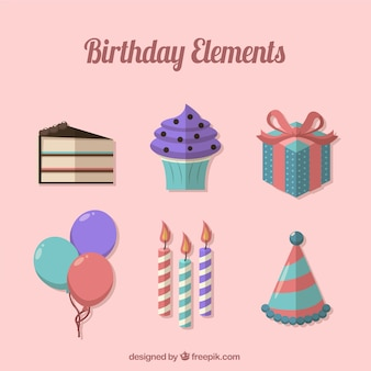 Set birthday elements in flat design