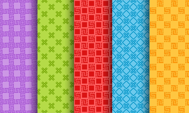 Set of bright different seamless patterns