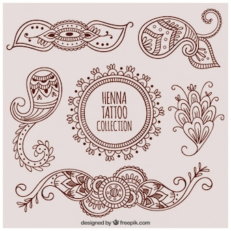 Set decorative henna tattoos