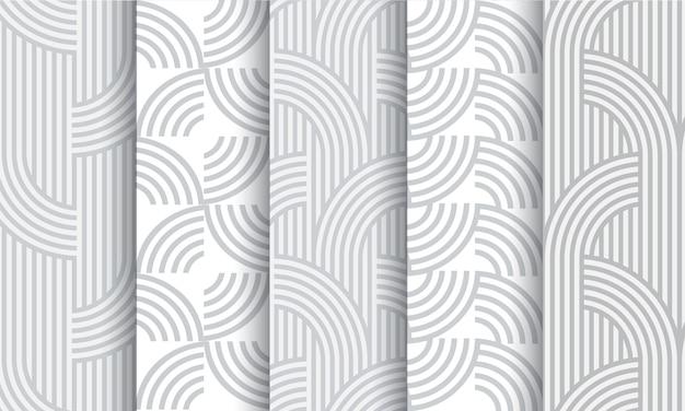 Set of geometric light grey striped seamless patterns