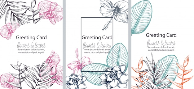 Set of greeting cards with place for text. colorful flowers and leaves in line art