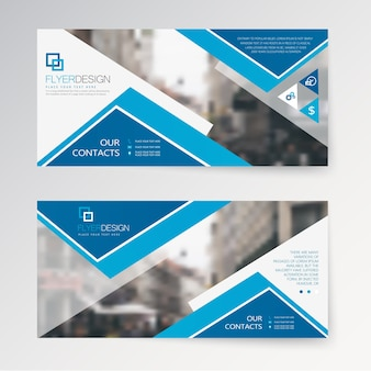 Set horizontal abstract flyer template with geometric pattern