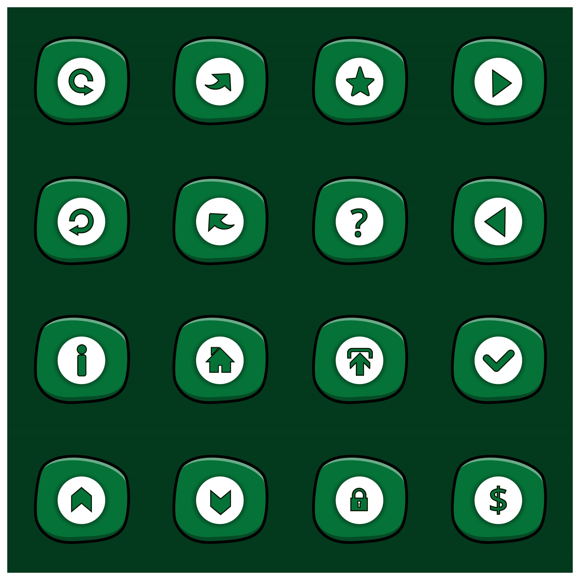 Set of 16 white icons on rounded green rectangles