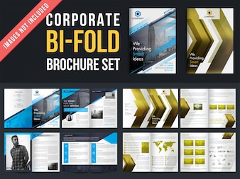 Set of 2, bi-fold brochures with four pages design template including cover page.