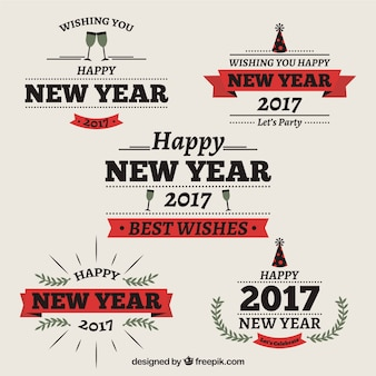 Set of 2017 new year stickers in vintage style