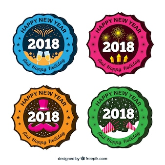 Set of 2018 new year stickers in retro style