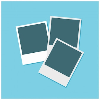 Set of 3 photo frames on a sky blue background