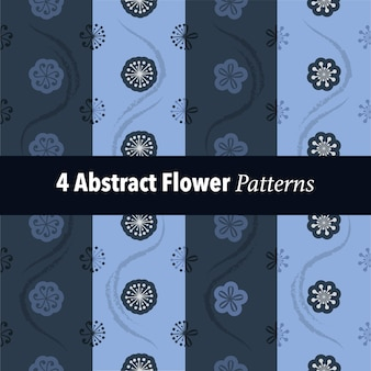 Set of 4 abstract flower pattern background