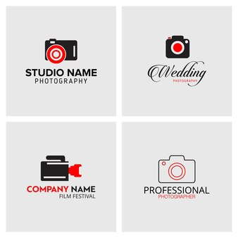 Set of 4 black and red icons for photographers on light grey background