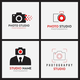 Set of 4 black and red icons for photographers