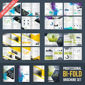 Set of 4 brochures designs with four pages designs template.