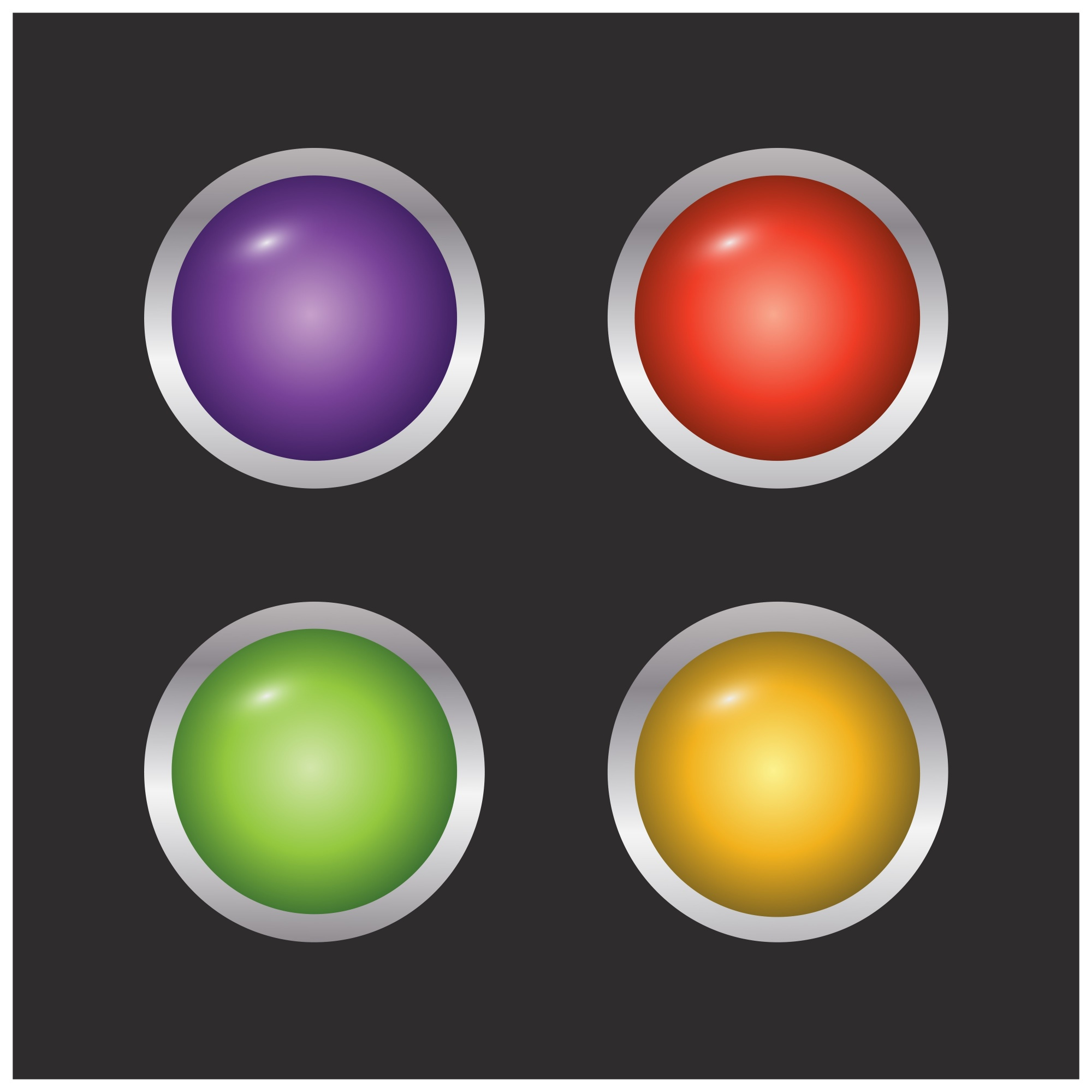 Set of 4 coloured buttons on black background