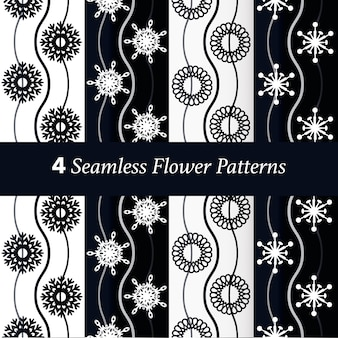 Set of 4 flower pattern background