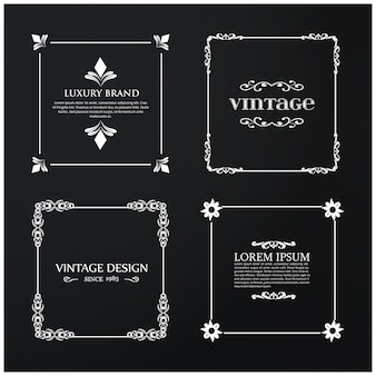 Set of 4 Vintage Typography. White Sample Text on Black Vintage Background.