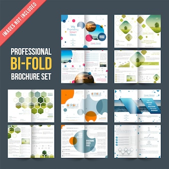 Set of 5 brochures designs with four pages designs template.