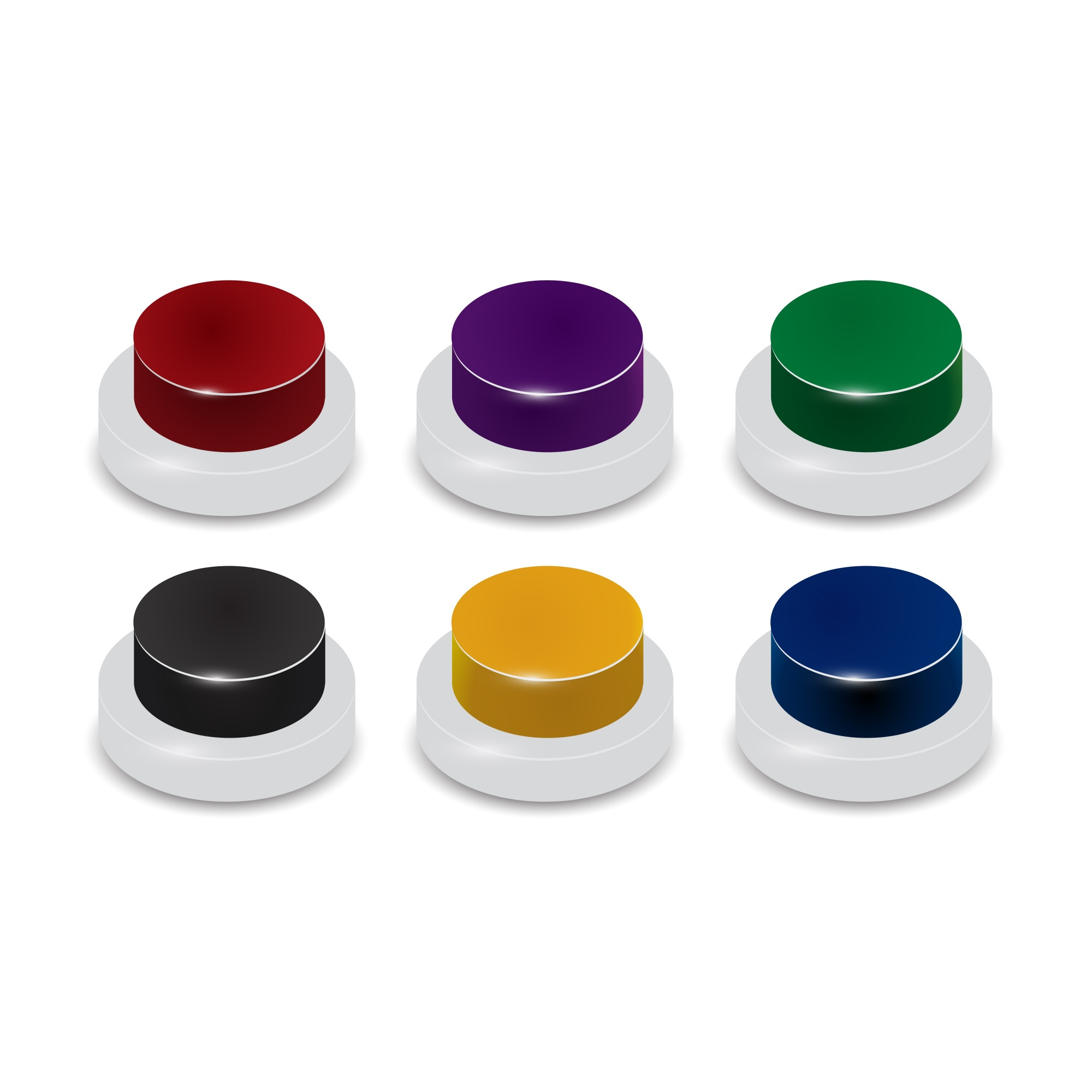 Set of 6 coloured buttons