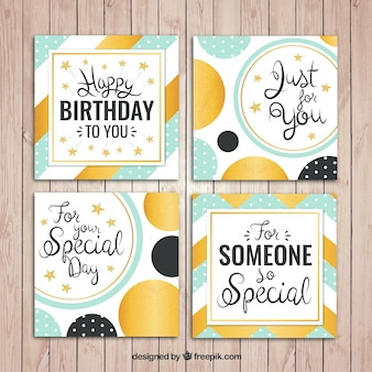Set of abstract birthday cards with golden details