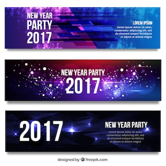 Set of abstract bright new year 2017 banners