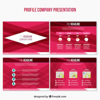 Set of abstract business presentations