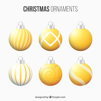 Set of abstract golden christmas balls