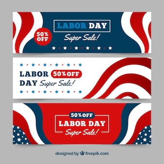 Set of abstract labor day banners
