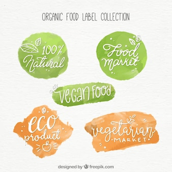 Set of abstract organic food stickers