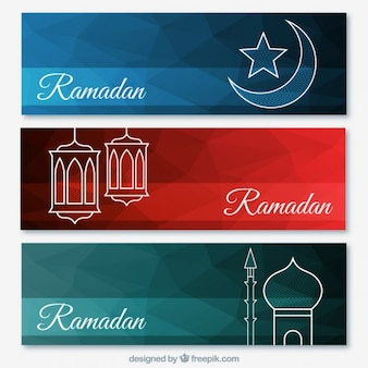 Set of abstract ramadan banners with arabian drawings