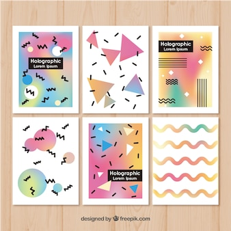 Set of abstract shapes cards with holographic effect