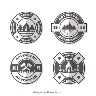 Set of adventure logos in flat style
