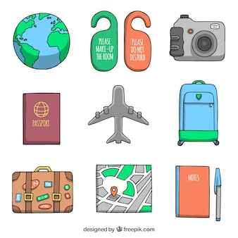 Set of airplane with other hand drawn travel elements