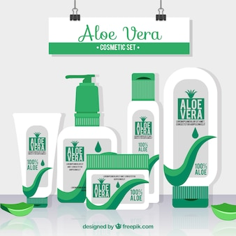 Set of aloe vera products in flat design