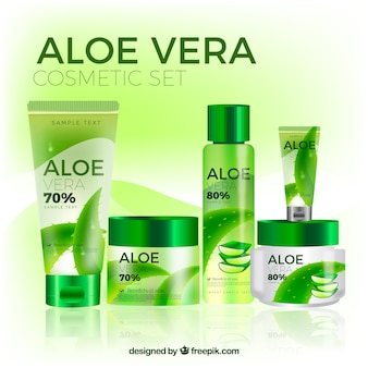 Set of aloe vera products in realistic style