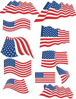 Set of american flags with multiple forms