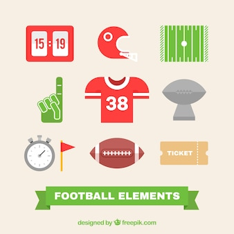 Set of american football elements in flat design