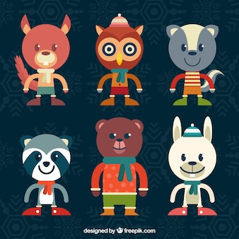 Set of animal characters wearing winter clothes