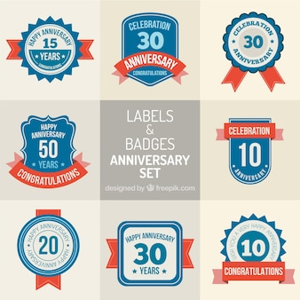 Set of anniversary labels and badges