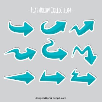 Set of arrows labels in flat design