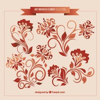 Set of art nouveau floral decoration