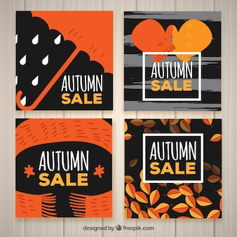 Set of autumn sale cards in vintage style