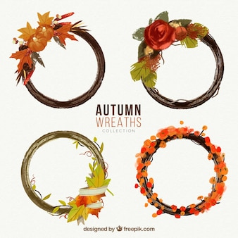 Set of autumn watercolor wreaths