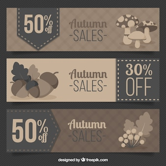 Set of autumnal banners in brown tones