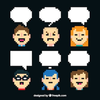 Set of avatars and speech bubbles in pixel art style