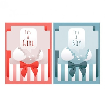Set of baby shower cards with eggshell