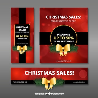Set of banners and brochure of christmas sales