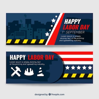 Set of banners for labor day with construction elements