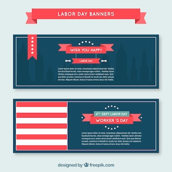 Set of banners for labor day with ribbons